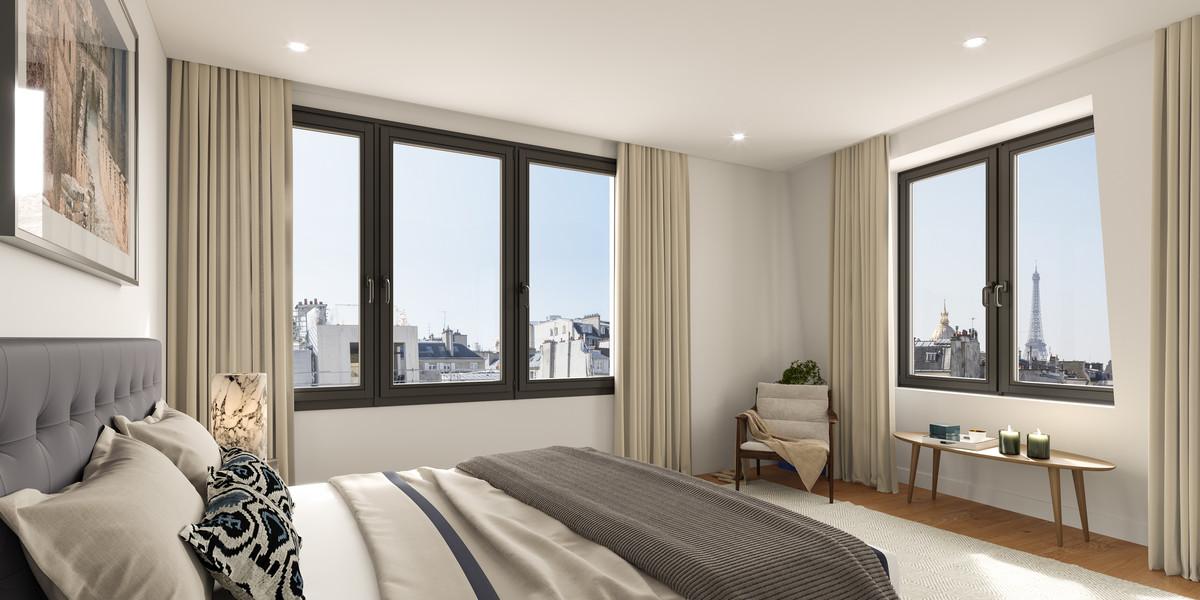 Chambre avec vue sur la Tour Eiffel à Paris 7