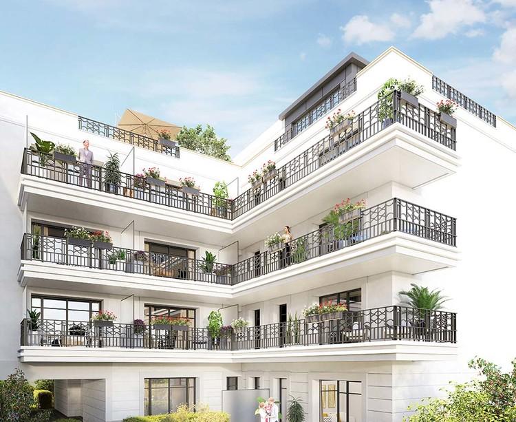 Coeur d'îlot du programme immobilier 120 Danton à Levallois
