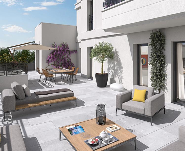 Terrasse vue jour du programme immobilier neuf Vogue à Saint-Ouen