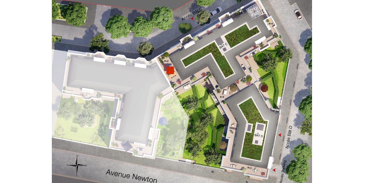 Plan masse du programme immobilier neuf Canal Avenue à Clamart